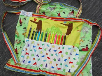 Childs apron with pencils in jungle print