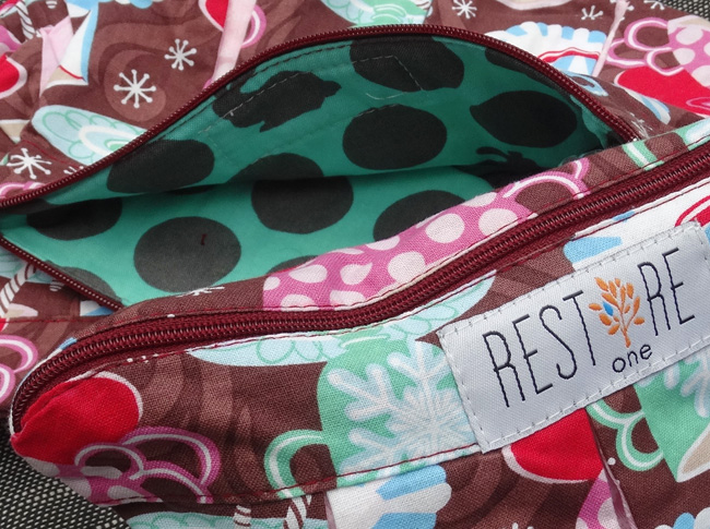 Makeup bags in brown with candy canes