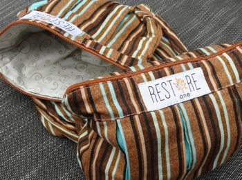 Makeup bags with brown stripes