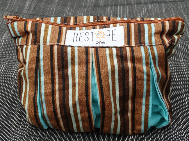 Makeup bags in brown stripes