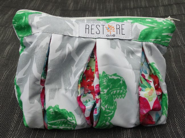 Makeup bags in green and grey