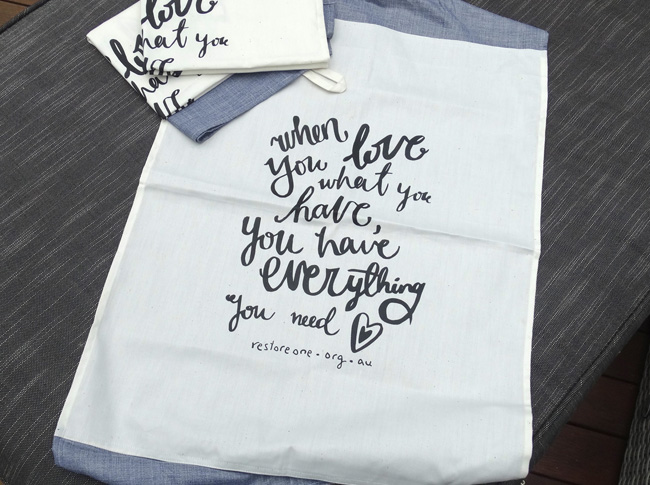 Tea Towel Grey: When you love what you have, you have everything you need