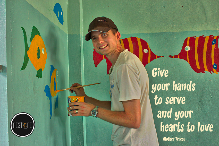 Give your hands to serve and your hearts to love
