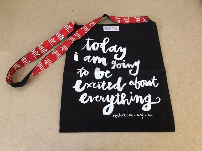 Tote bags black excited about everything