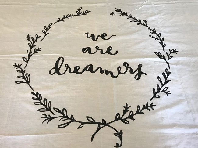 Tablecloths large white- We are dreamers