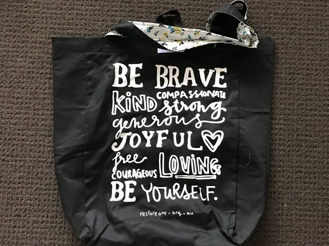 Large tote bags be brave