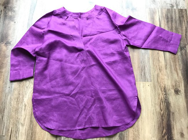 Ladies linen shirts - 3/4 sleeve v-neck