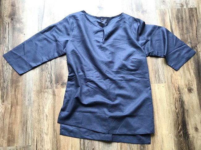 Ladies linen shirts blue-grey - adjustable 3/4 sleeve