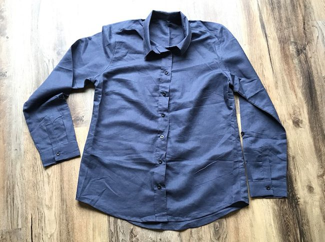 Ladies linen shirts sz8-10 blue grey
