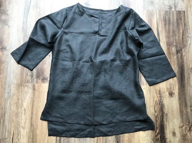 Ladies linen shirts charcoal - adjustable 3/4 sleeve