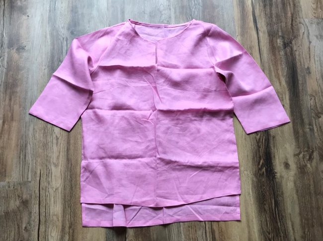 Ladies linen shirts pink - adjustable 3/4 sleeve