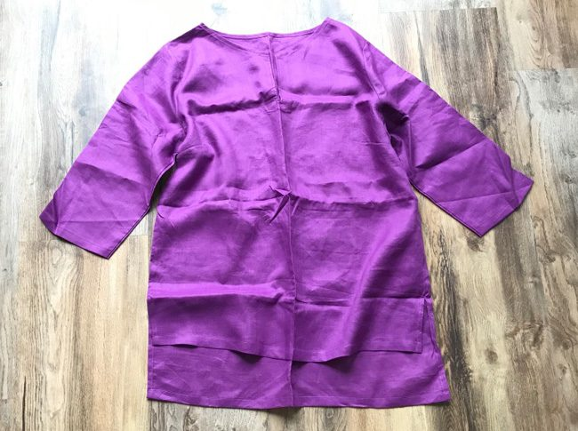 Ladies linen shirts plum - adjustable 3/4 sleeve