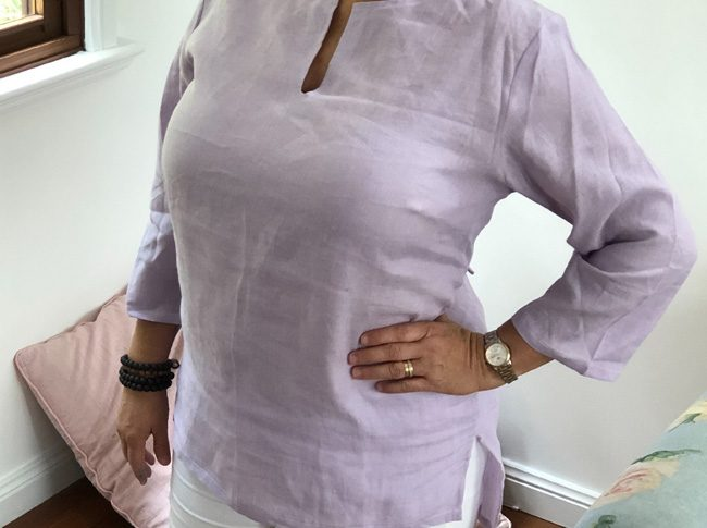 Ladies linen shirts - lilac adjustable 3/4 sleeve