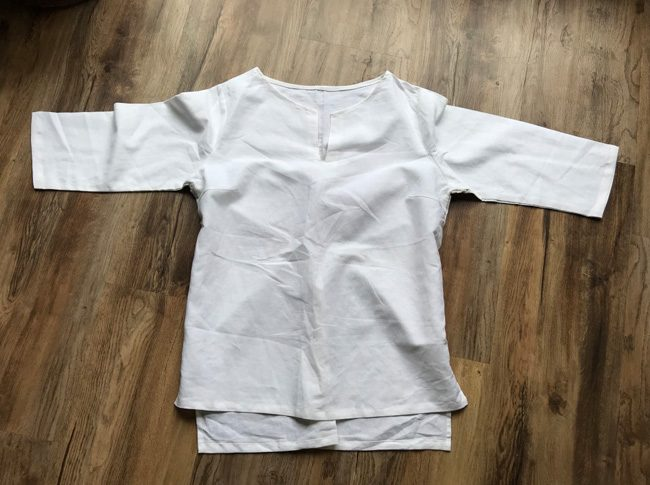 Ladies linen shirts white - adjustable 3/4 sleeve