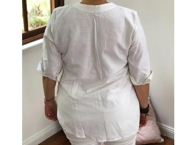 Ladies linen shirts - 3/4 sleeve v-neck