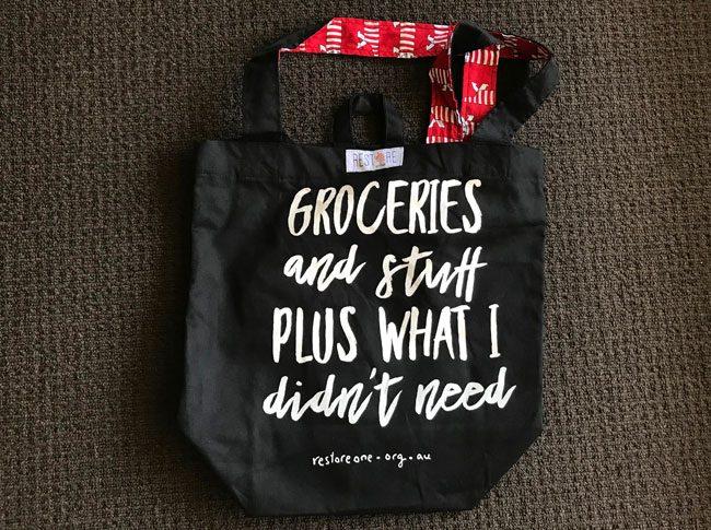 Tote bag black groceries