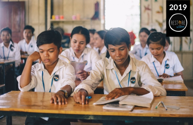 Secondary School students studying