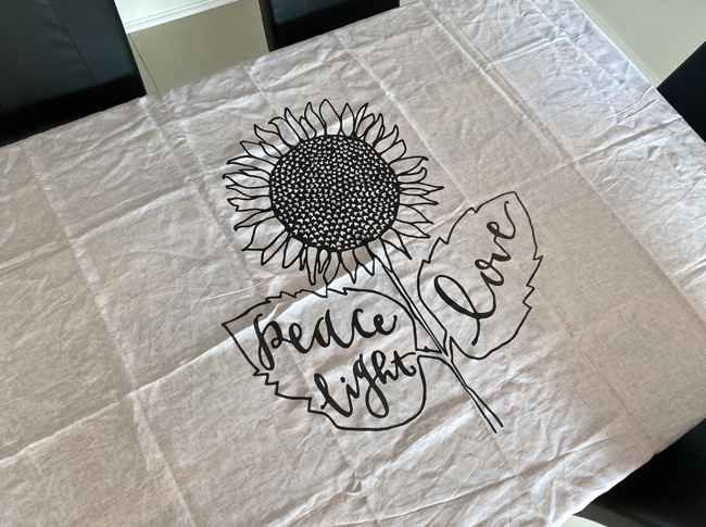 White Tablecloths with sunflower design