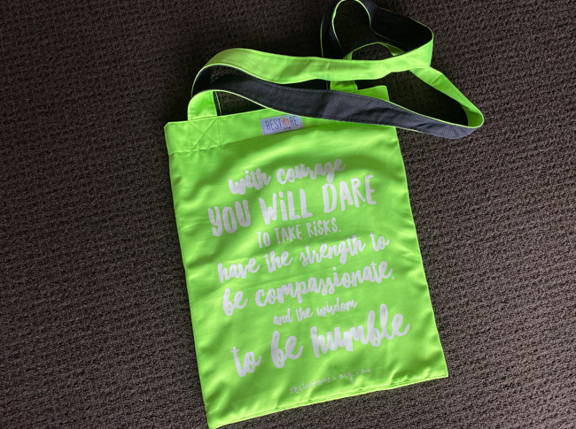 Tote bag coloured, courage, green