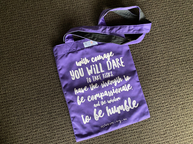 Tote bag coloured, courage, purple