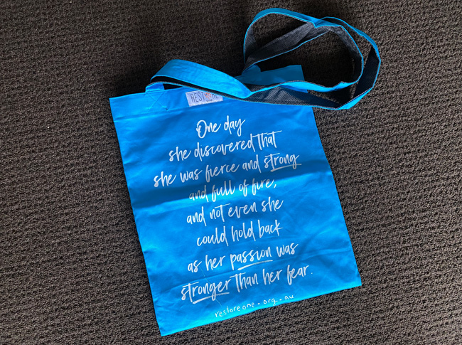 Tote bag coloured, fierce, blue