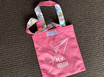 Tote bag kids, pink, Fly High