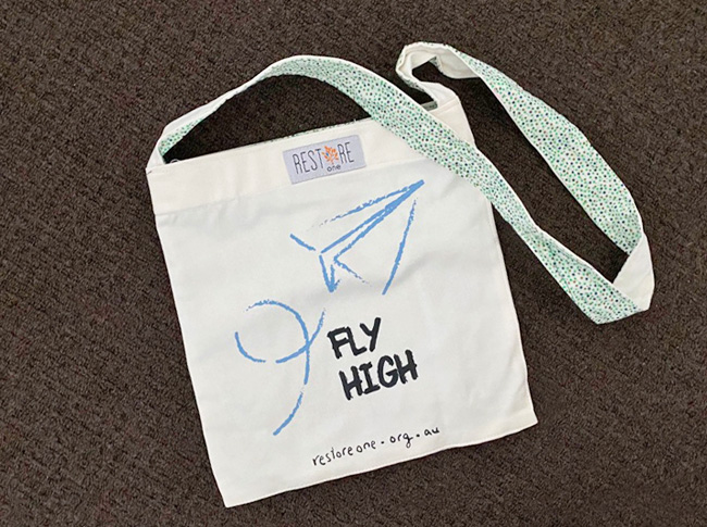 Tote bag kids, white, Fly High