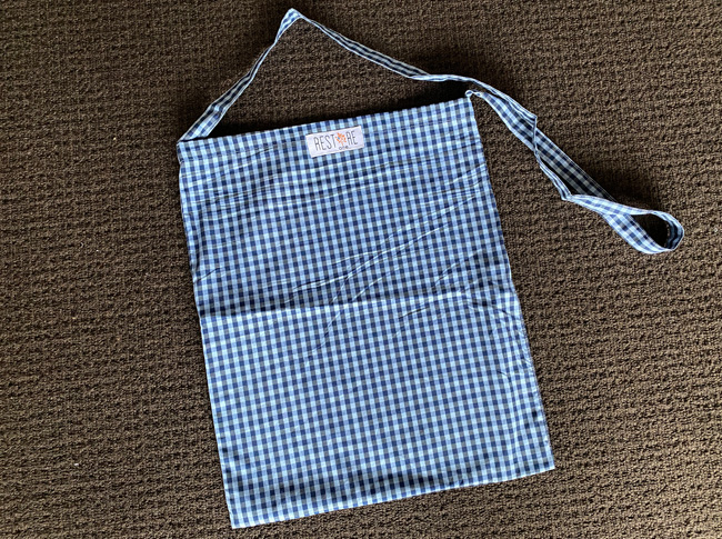 Tote bags, unlined blue check