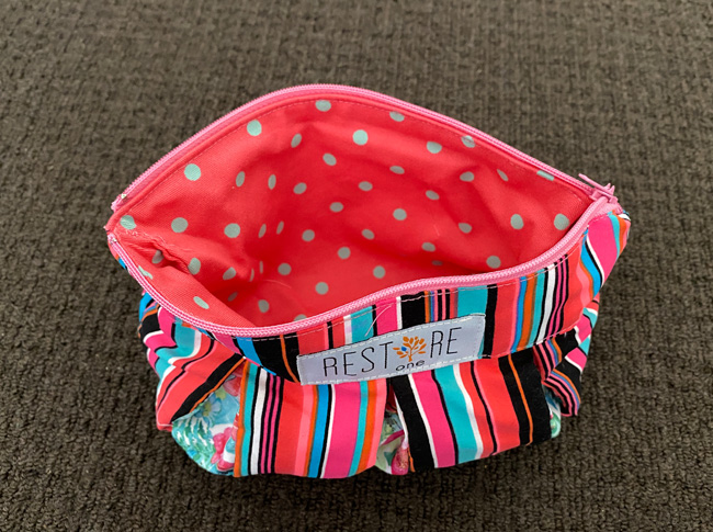 Make up bags, red stripes