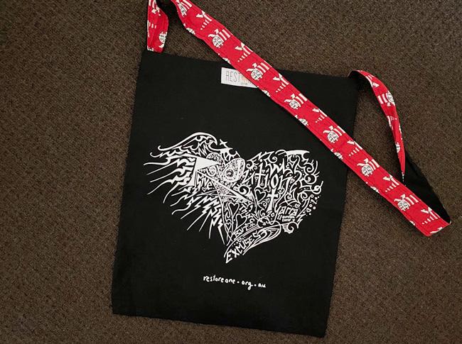 Tote bag black, revolution